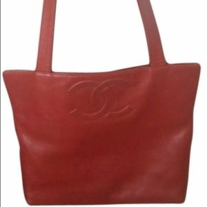 Chanel Shopping (Red clay colored) Leather tote